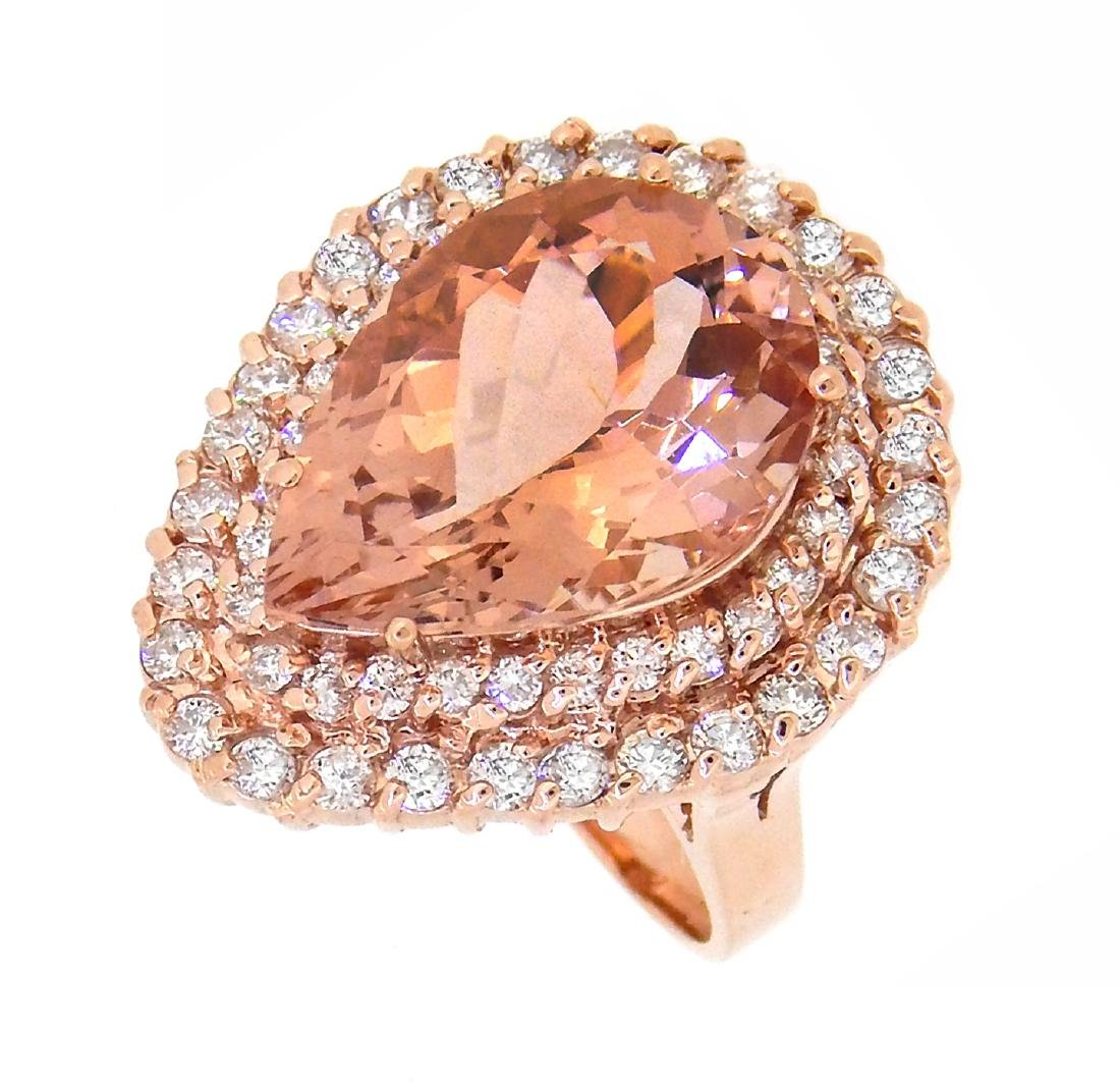 14KT Rose Gold 8.36ct Morganite and Diamond Ring