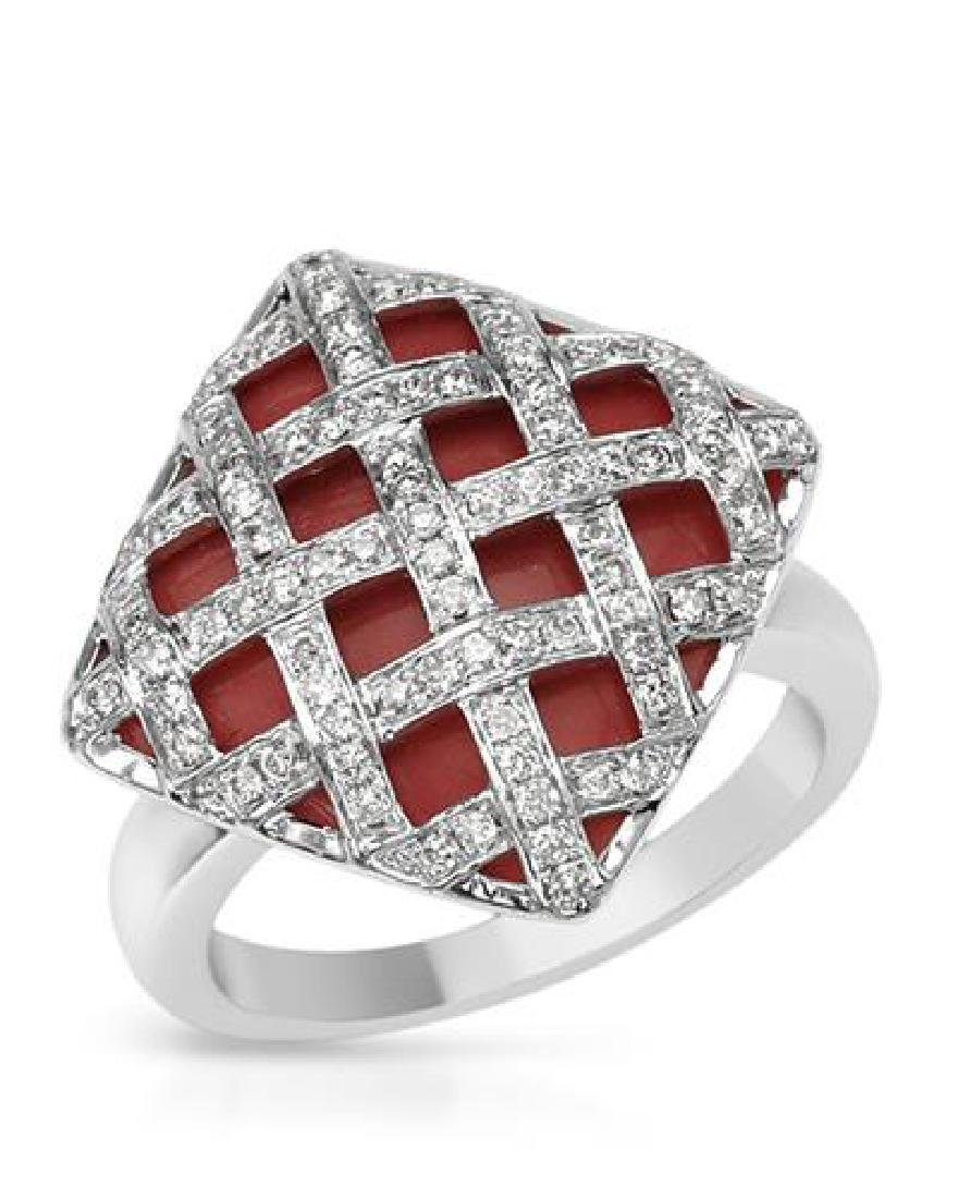 14KT White Gold 8.49ct Coral and Diamond Ring