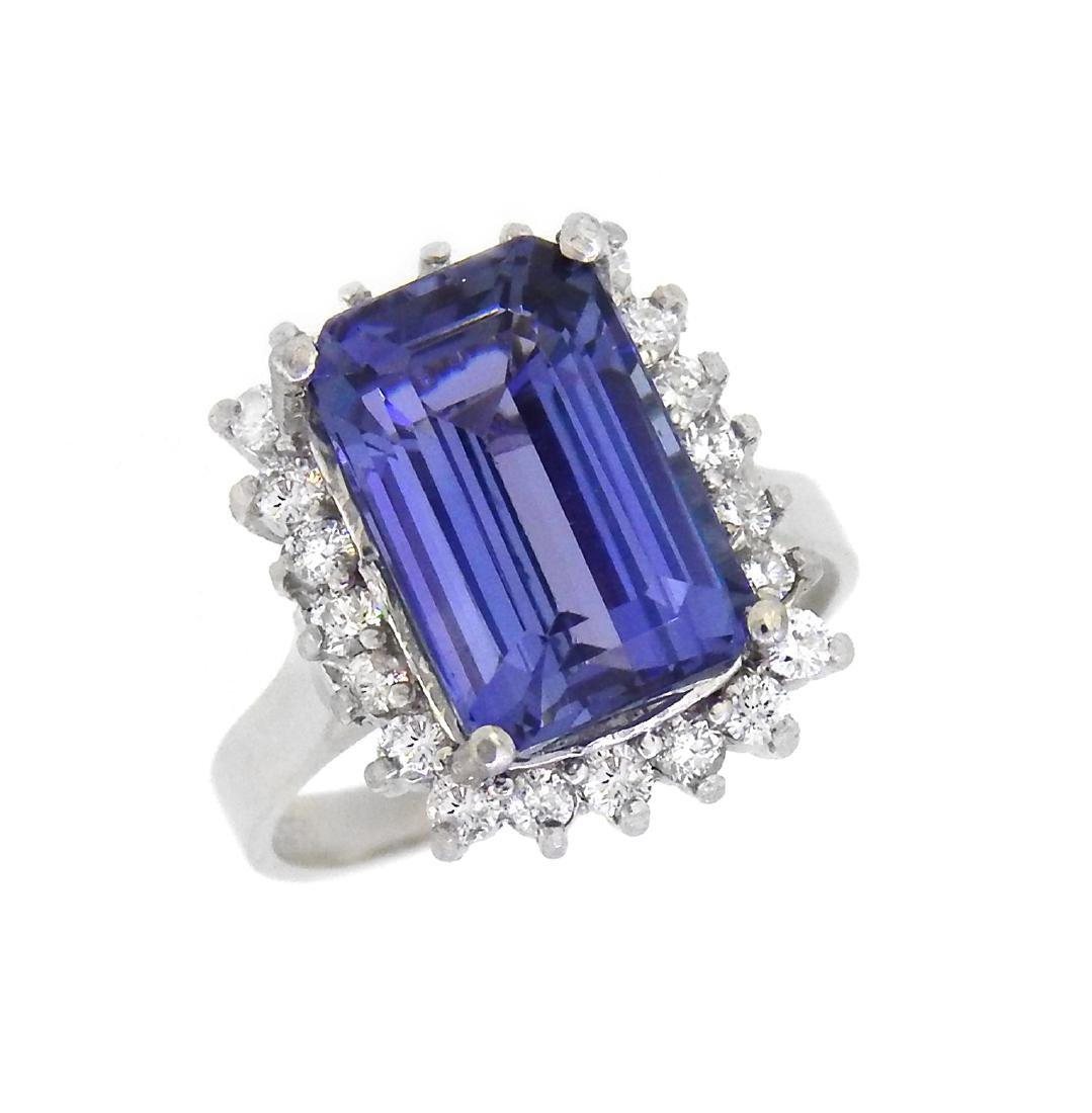 Platinum 6.01ct Tanzanite and Diamond Ring