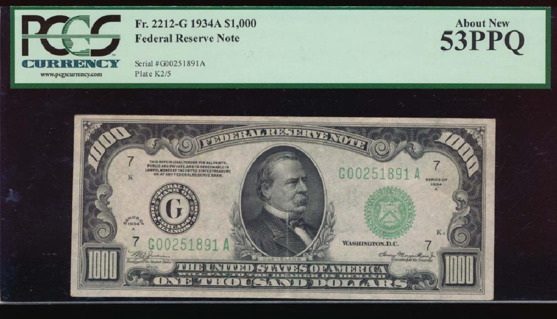 1934A $1000 Chicago Federal Reserve Note PCGS 53PPQ