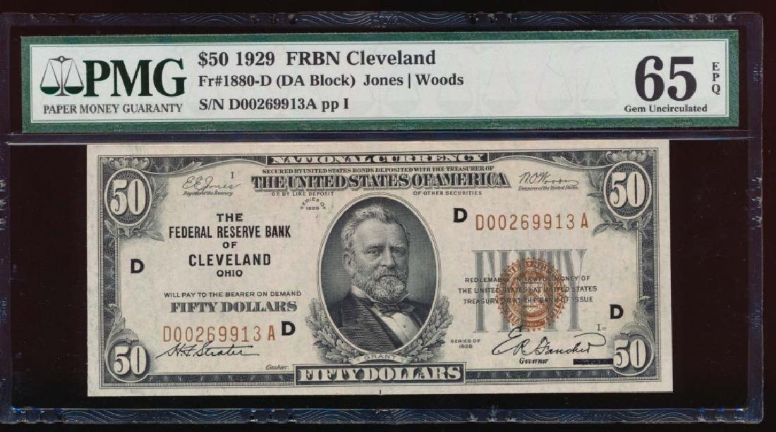 1929 $50 Cleveland Federal Reserve Bank Note PMG 65EPQ