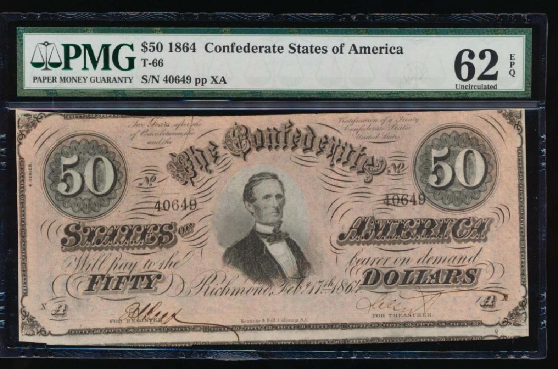 1864 $50 Confederate States of America Note PMG 62EPQ