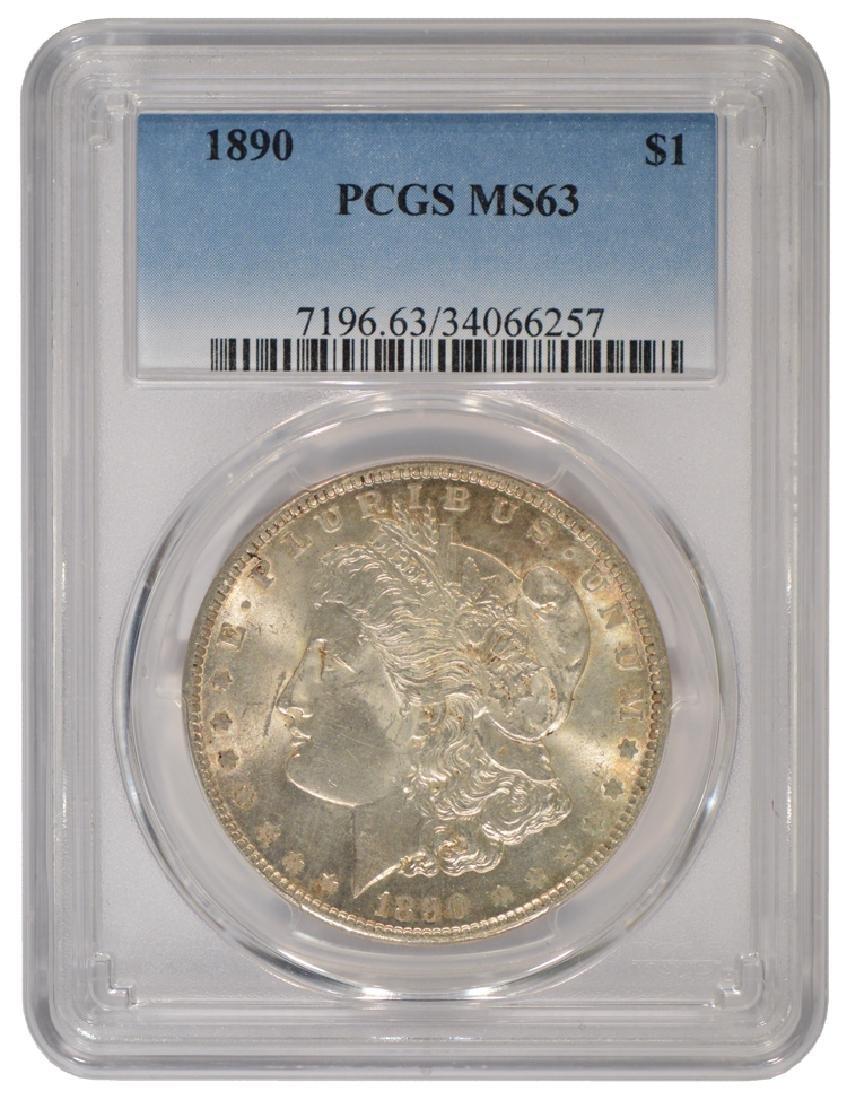 1890 $1 Morgan Silver Dollar Coin PCGS MS63