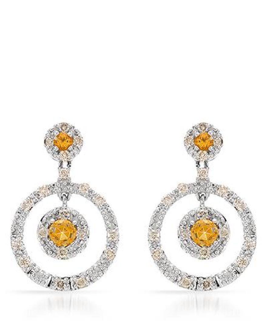 14KT White Gold 0.49ctw Citrine and Diamond Earrings