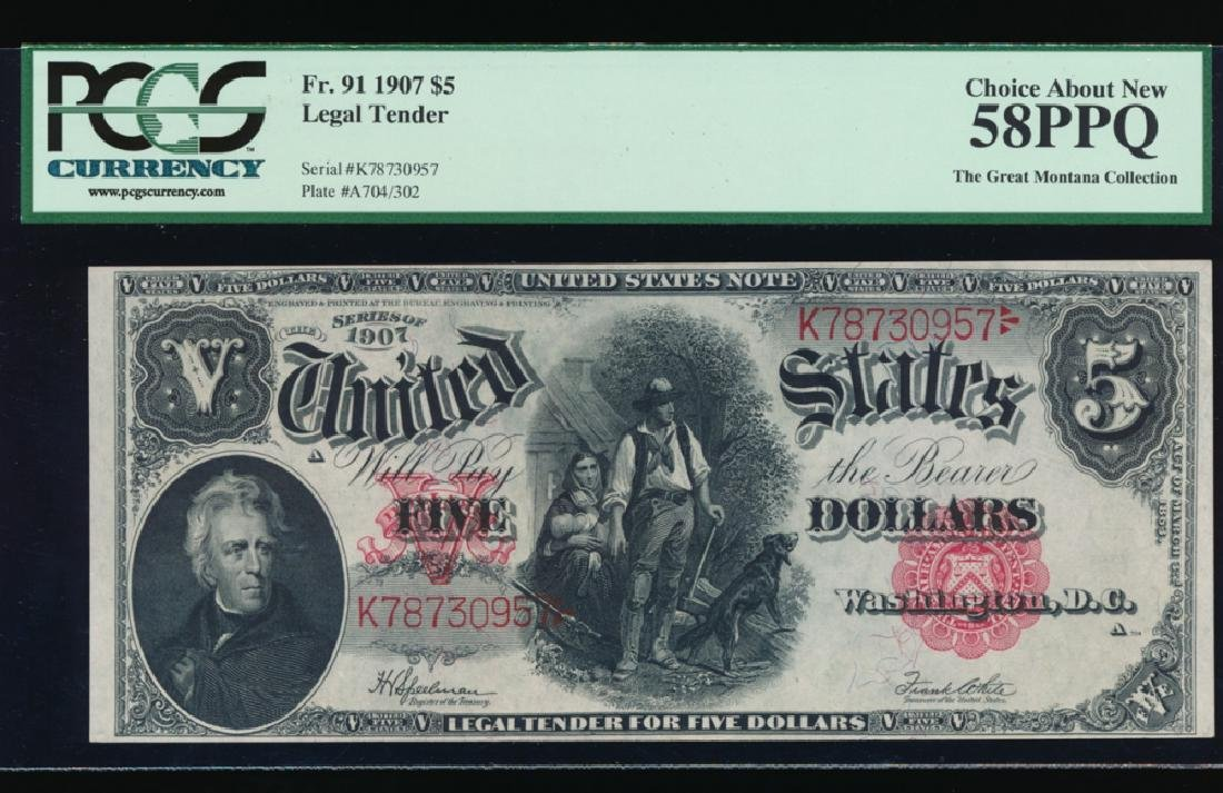 1907 $5 Large Legal Tender Note PCGS 58PPQ