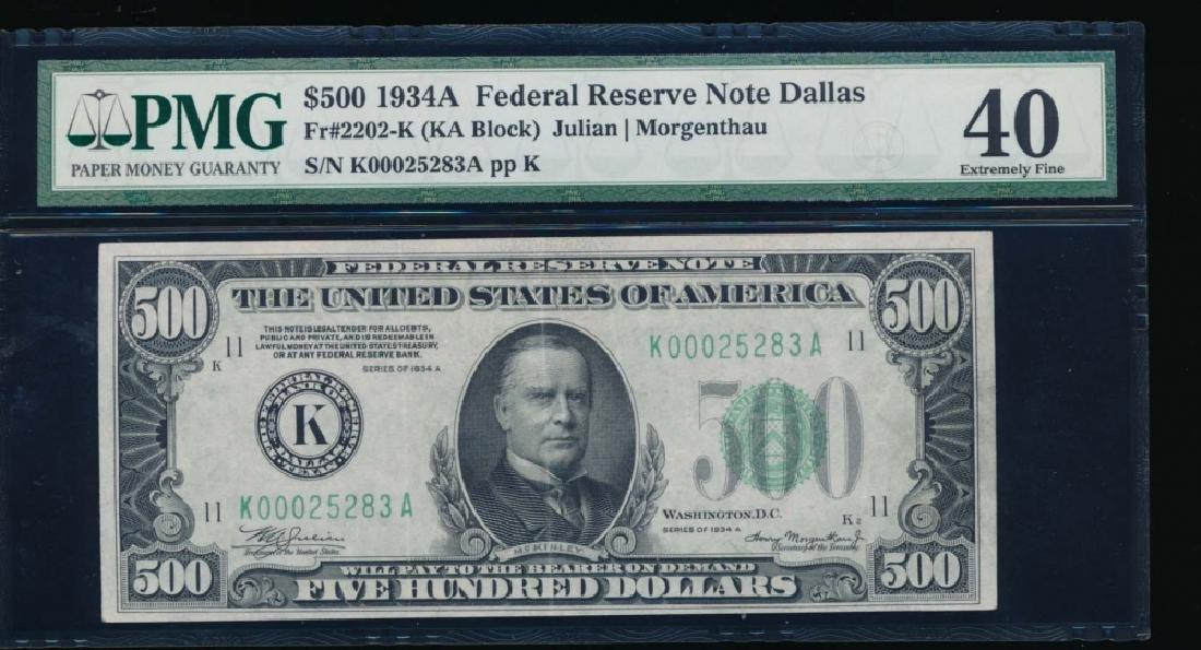 1934A $500 Dallas Federal Reserve Note PMG 40