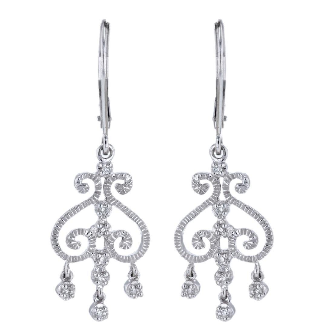 14KT White Gold 0.10ctw Diamond Chandelier Earrings