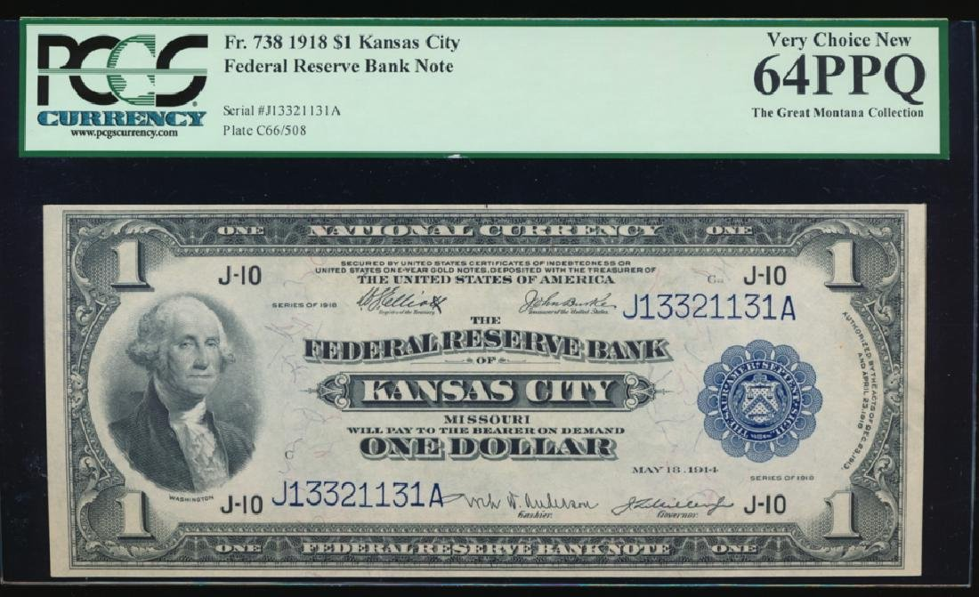 1918 $1 Large Kansas City Federal Reserve Note PCGS