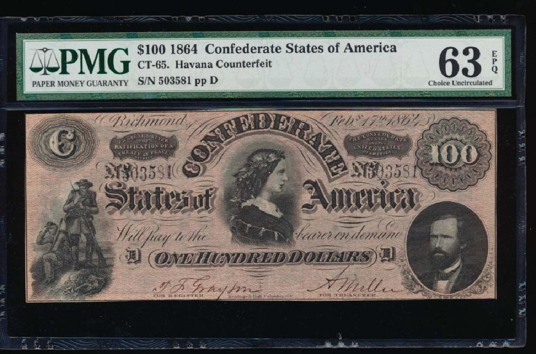 1864 $100 Confederate States Havana Counterfeit Note