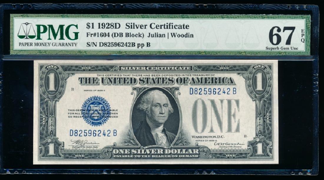 1928D $1 Silver Certificate PMG 67EPQ