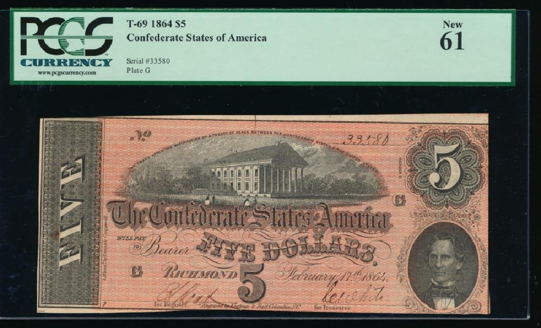 1864 $5 Confederate States of America Note PCGS 61