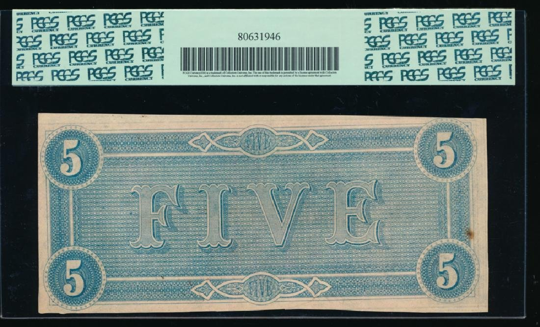 1864 $5 Confederate States of America Note PCGS 61 - 2