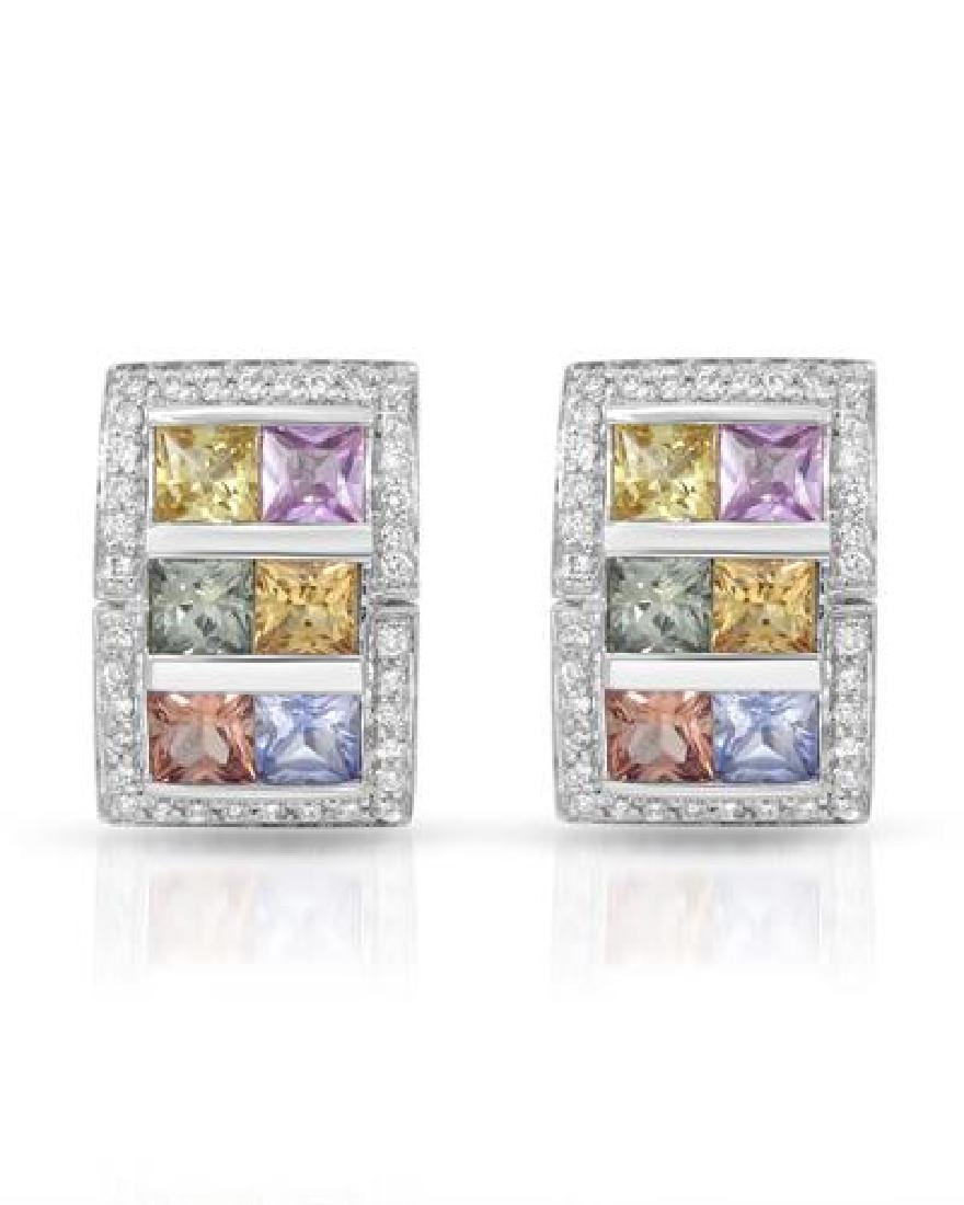 14KT White Gold 4.80ctw Multi Color Sapphire and
