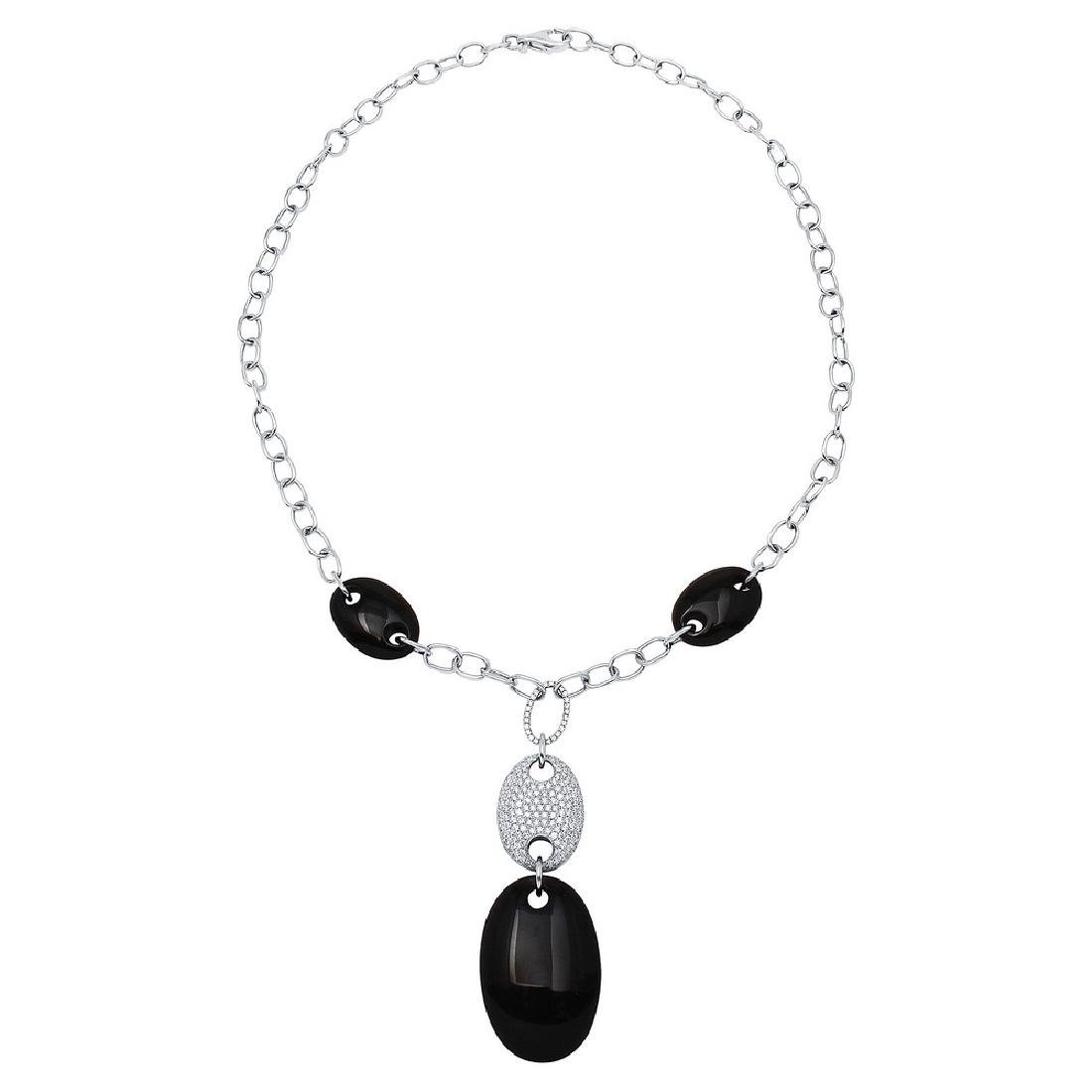14KT White Gold 60.58ctw Onyx and Diamond Necklace