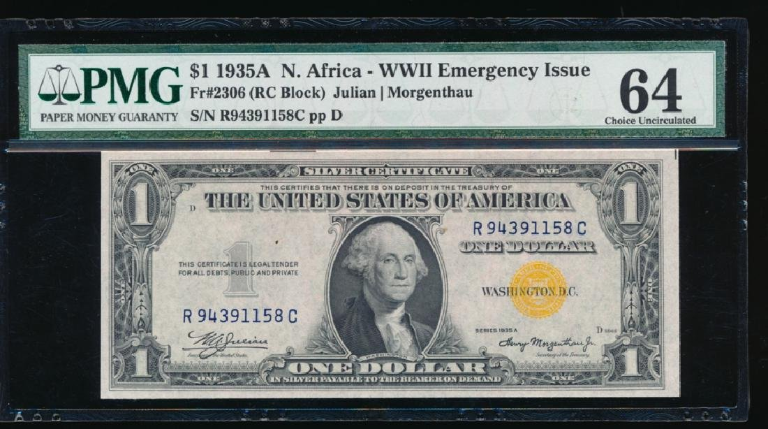 1935A $1 North Africa Silver Certificate PMG 64