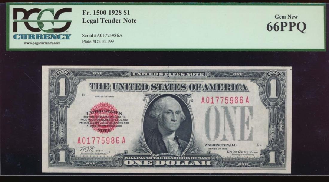 1928 $1 Legal Tender Note PCGS 66PPQ