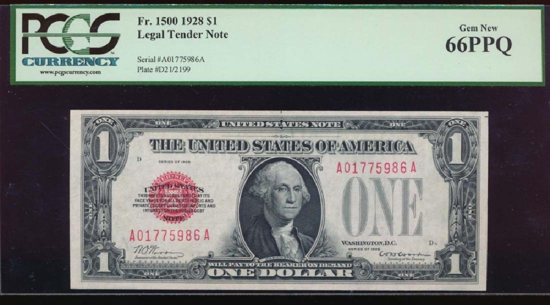 1928 $1 Legal Tender Note PCGS 66PPQ