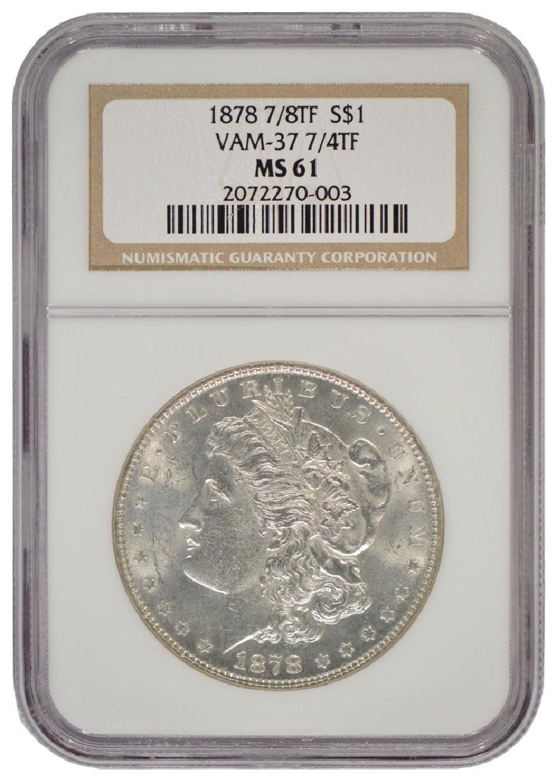 1878 7/8 $1 Morgan Silver Dollar Coin Vam 37 NGC MS61