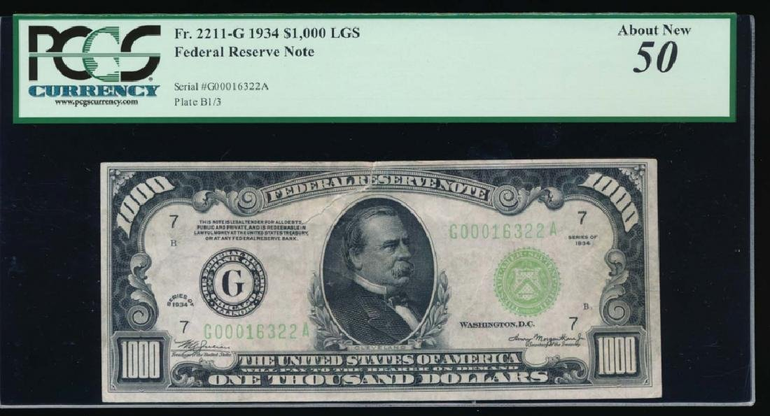 1934 $1000 Chicago Federal Reserve Note PCGS 50