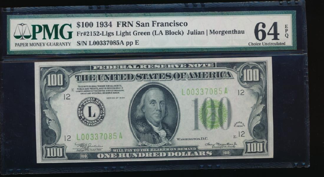 1934 $100 San Francisco Federal Reserve Note PMG 64EPQ