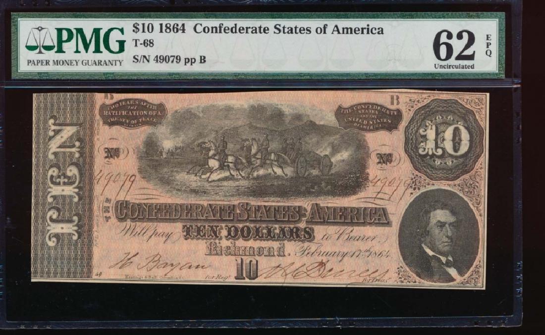 1864 $10 Confederate States of America Note PMG 62EPQ