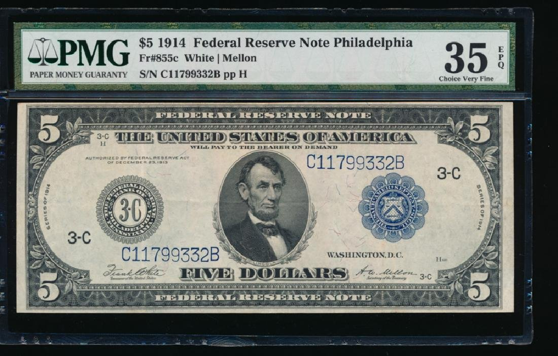 1914 $5 Philadelphia Federal Reserve Note PMG 35EPQ
