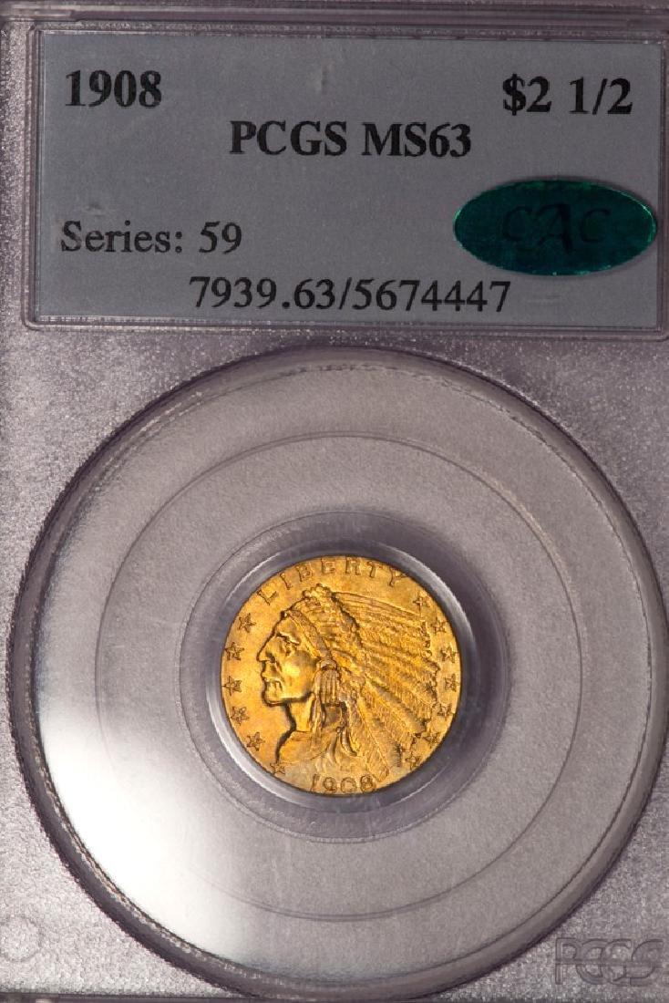 1908 $2 1/2 Indian Head Quarter Eagle Gold Coin PCGS