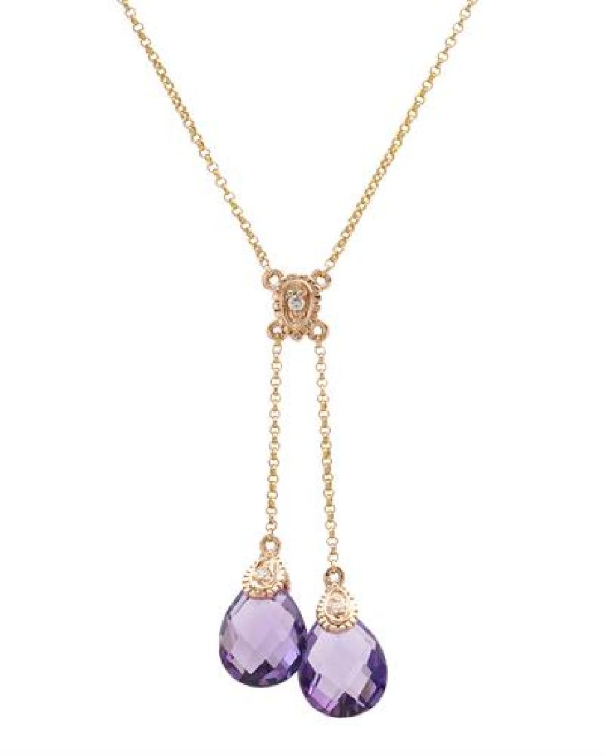 14KT Rose Gold 4.54ctw Amethyst and Diamond Pendant