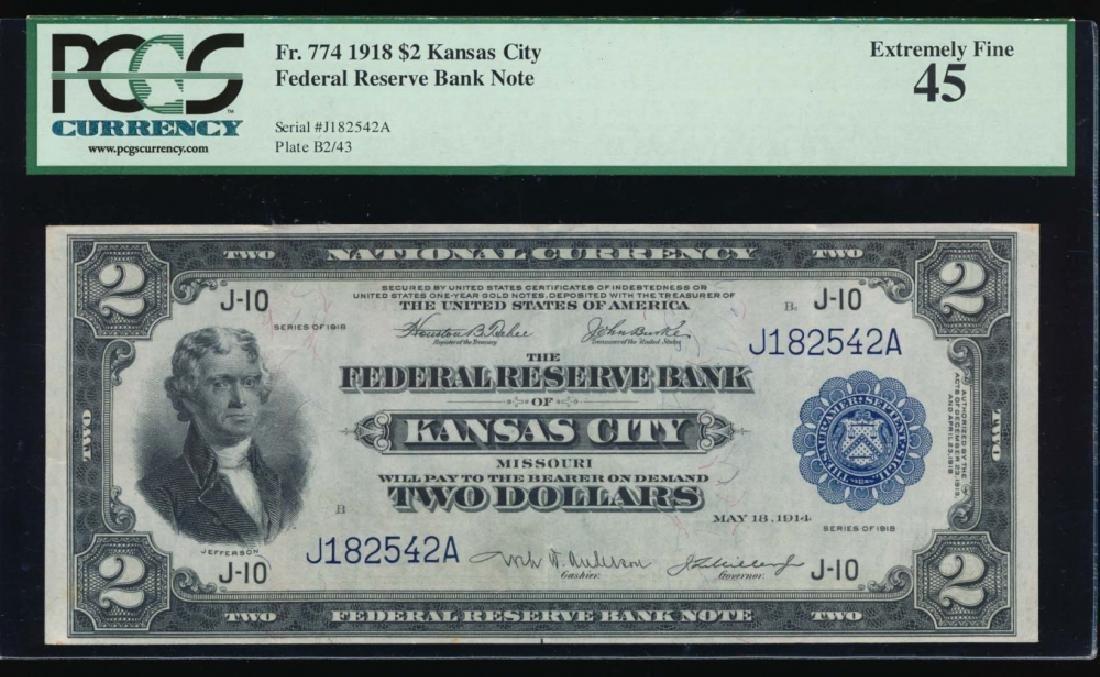 1918 $2 Kansas City Federal Reserve Bank Note PCGS 45