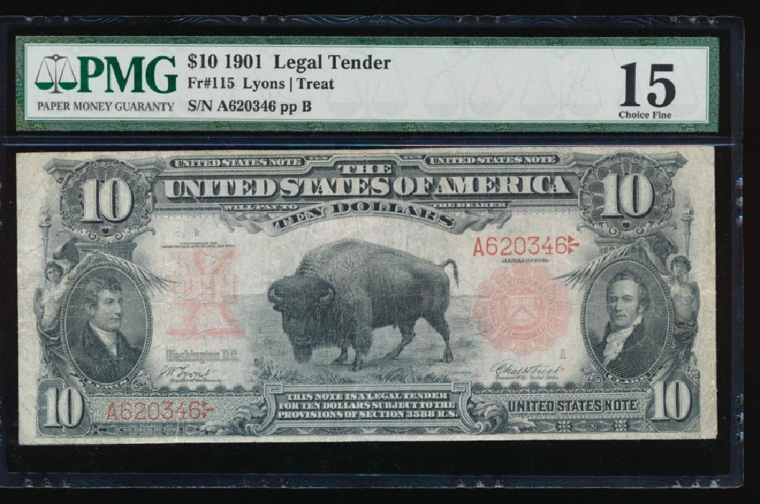 1901 $10 Bison Legal Tender Note PMG 15