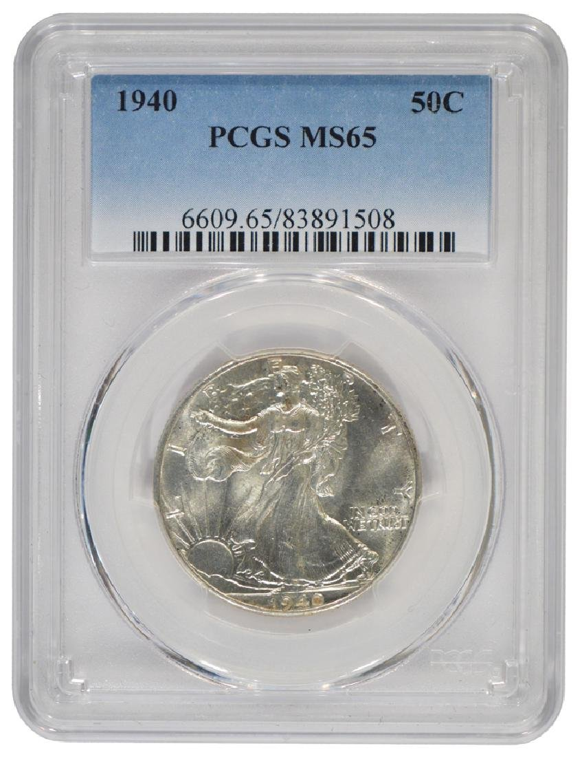 1940 Walking Liberty Half Dollar Coin PCGS MS65