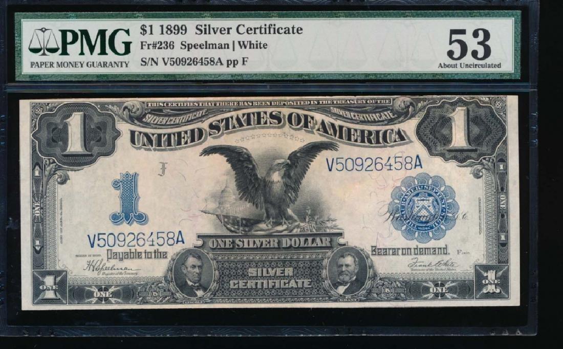 1899 $1 Black Eagle Silver Certificate PMG 53
