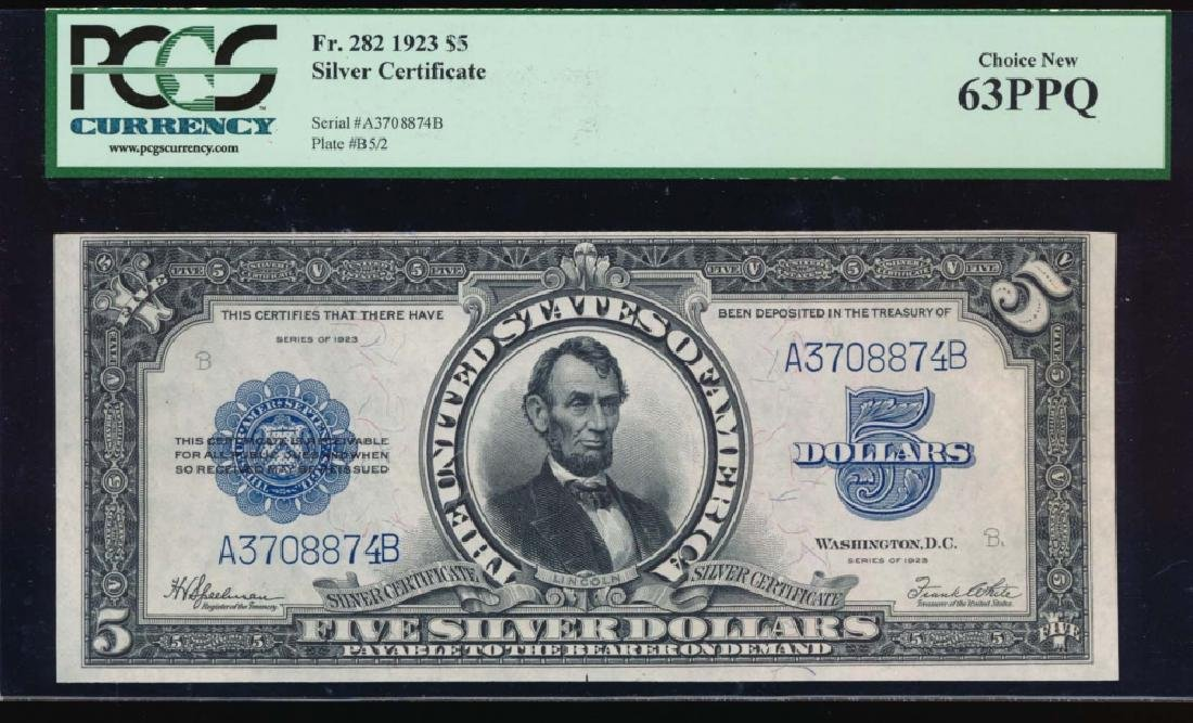 1923 $5 Lincoln Porthole Silver Certificate PCGS 63PPQ