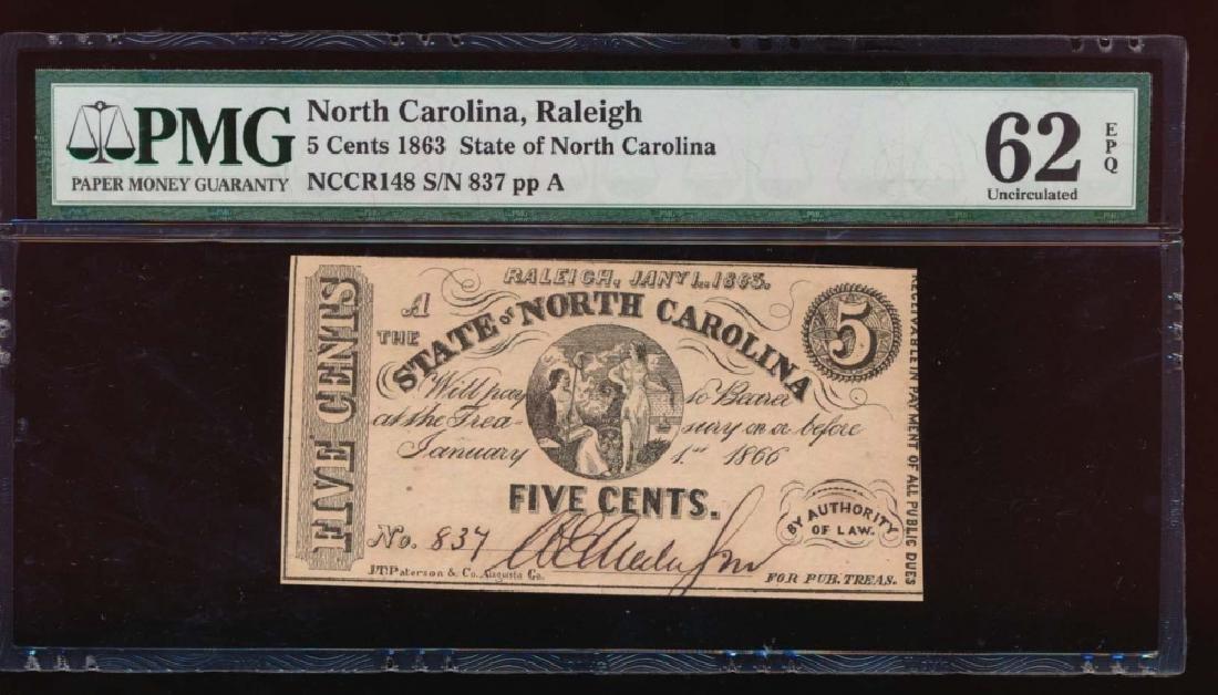 1863 Five Cent North Carolina Obsolete Note PMG 62EPQ