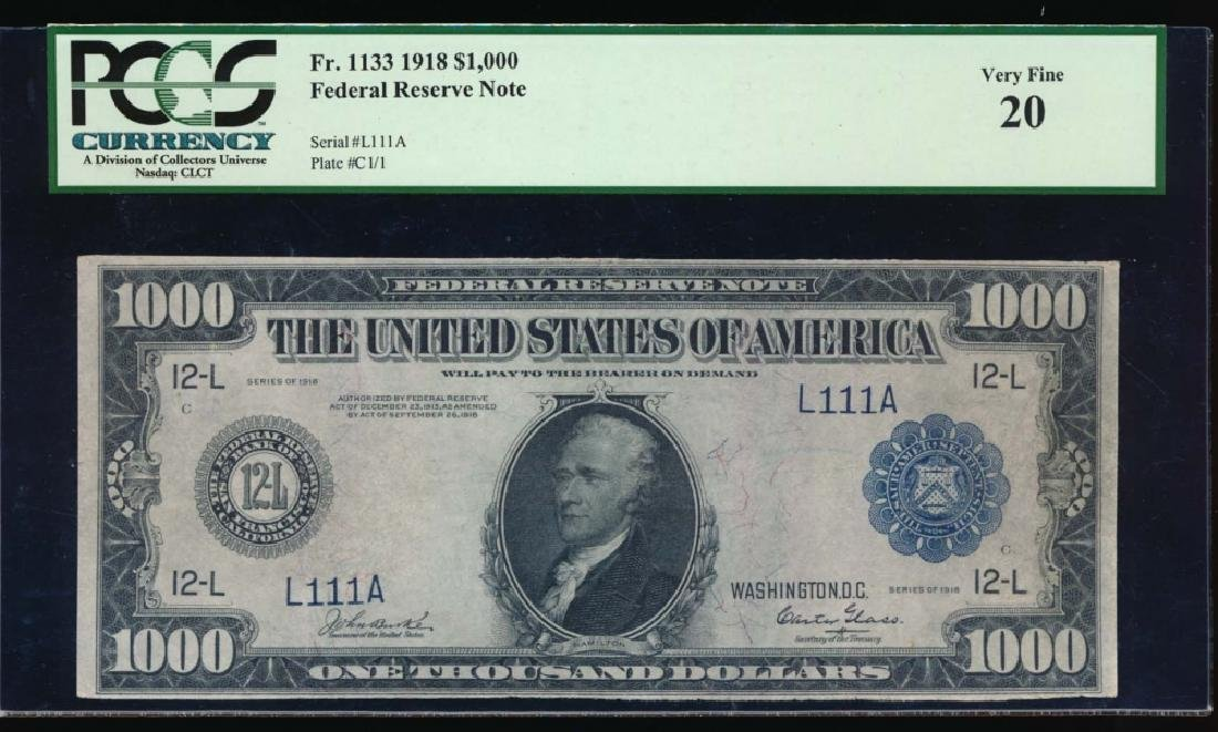 1918 $1000 San Francisco Federal Reserve Note PCGS 20