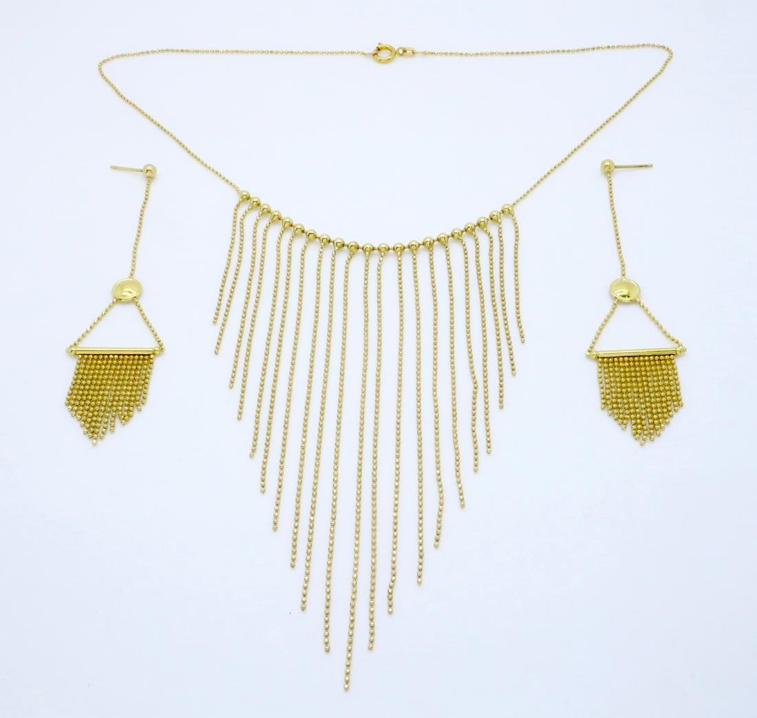 18KT Yellow Gold Necklace and Earring Set
