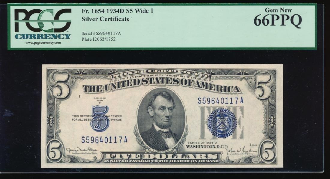 1934D $5 Silver Certificate PCGS 66PPQ