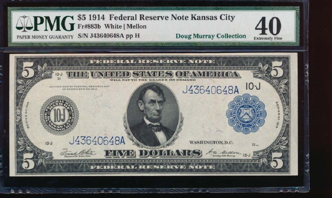 1914 $5 Kansas City Federal Reserve Note PMG 40