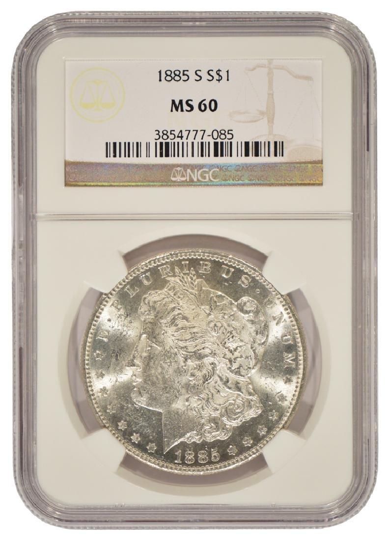 1885-S $1 Morgan Silver Dollar Coin NGC MS60