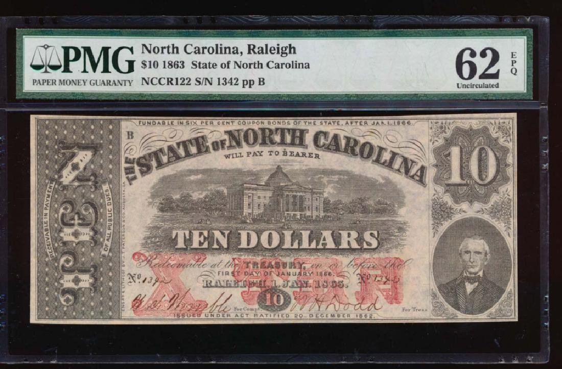 1863 $10 North Carolina Obsolete Note PMG 62EPQ