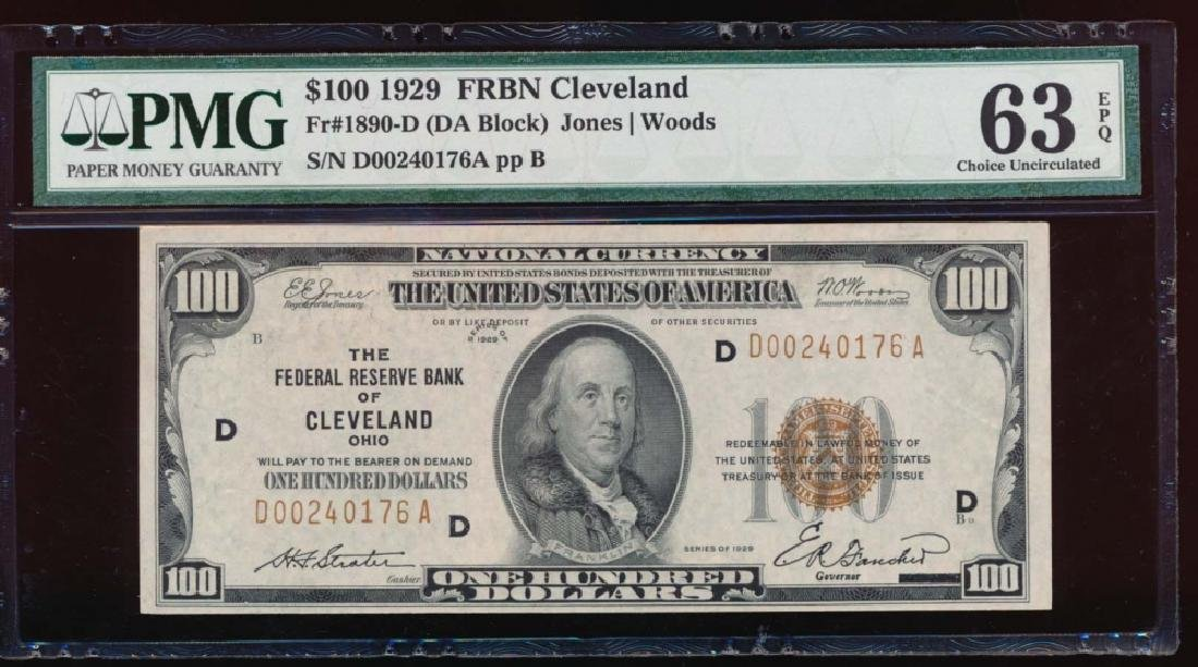 1929 $100 Cleveland Federal Reserve Bank Note PMG 63EPQ