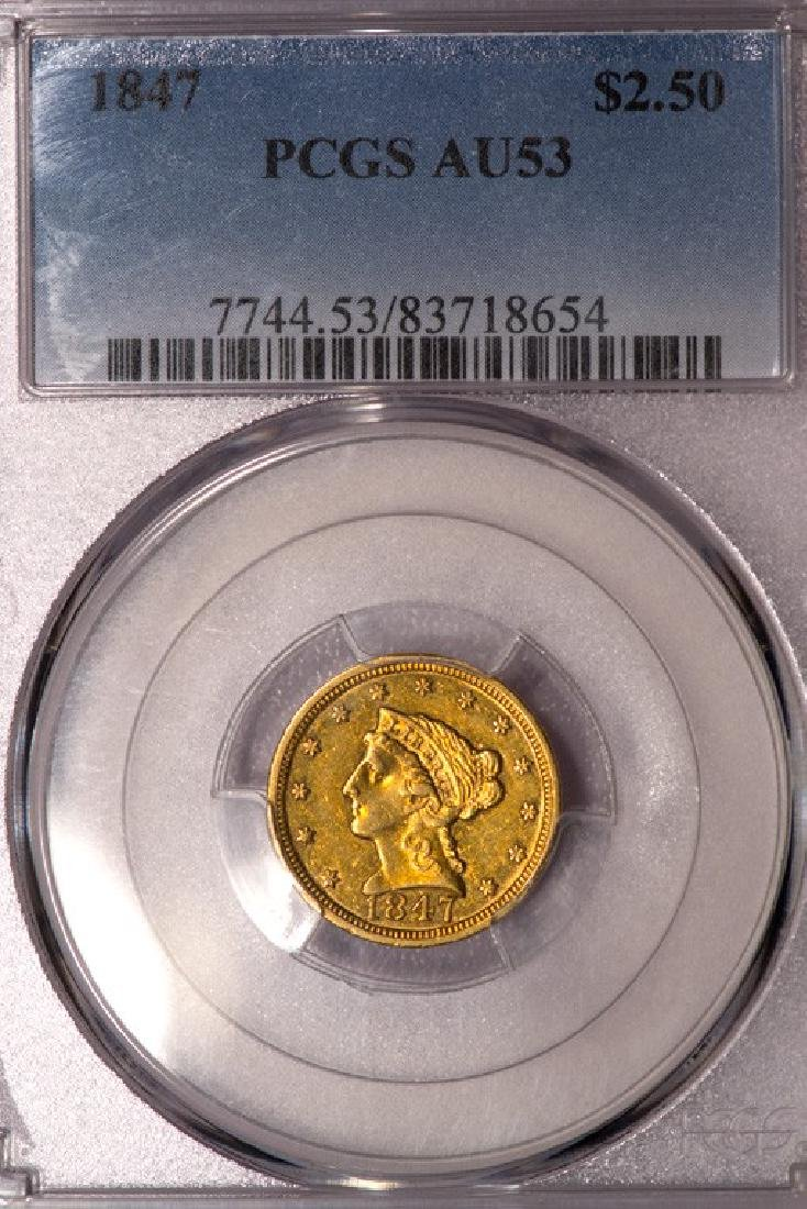 1847 $2 1/2 Liberty Head Quarter Eagle Gold Coin PCGS