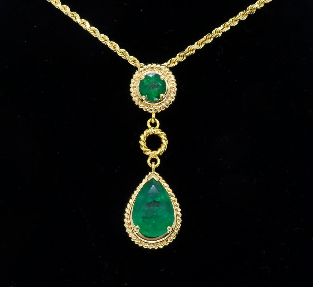 14KT Yellow Gold Emerald Pendant with Chain