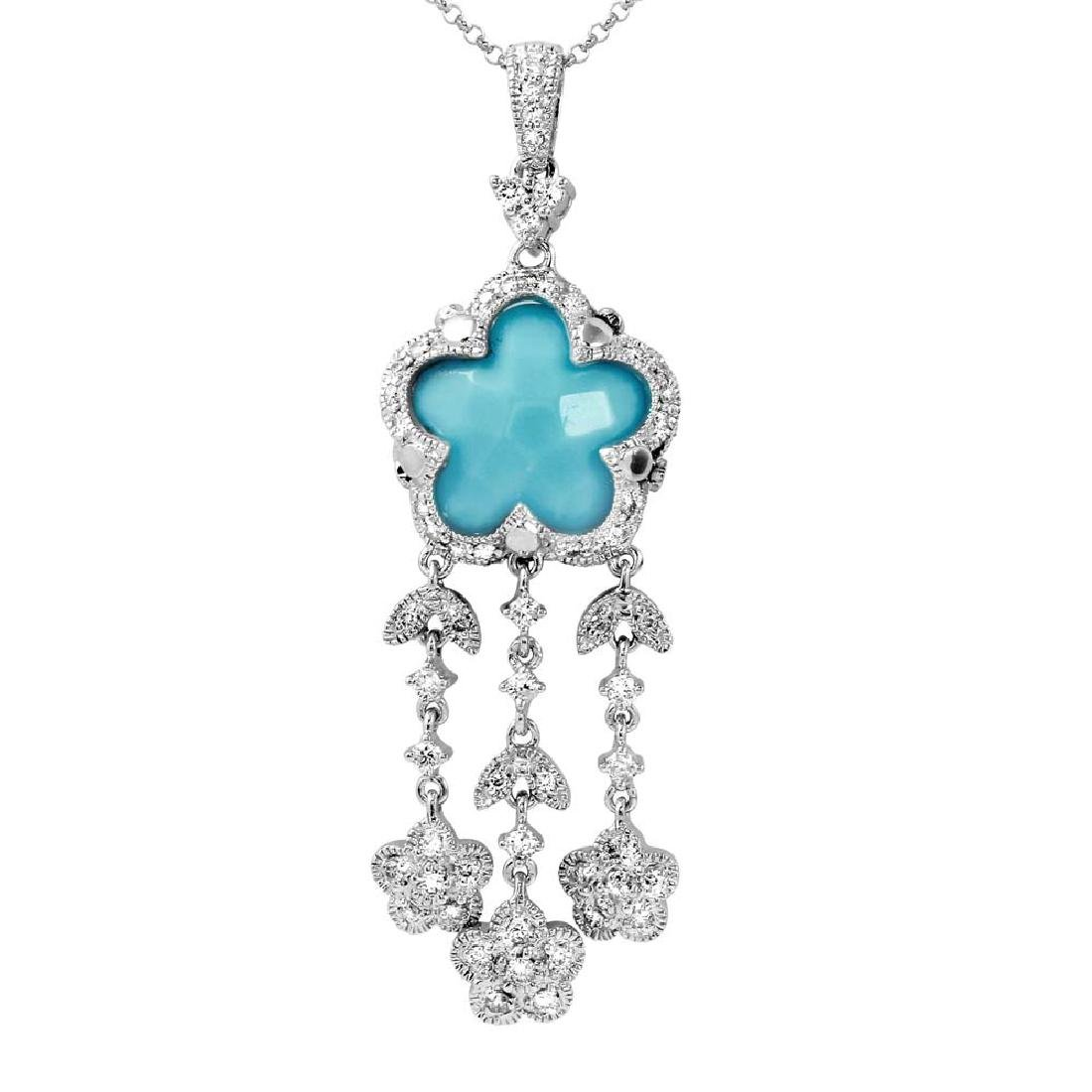 14KT White Gold 4.55ct Turquoise and Diamond Pendant