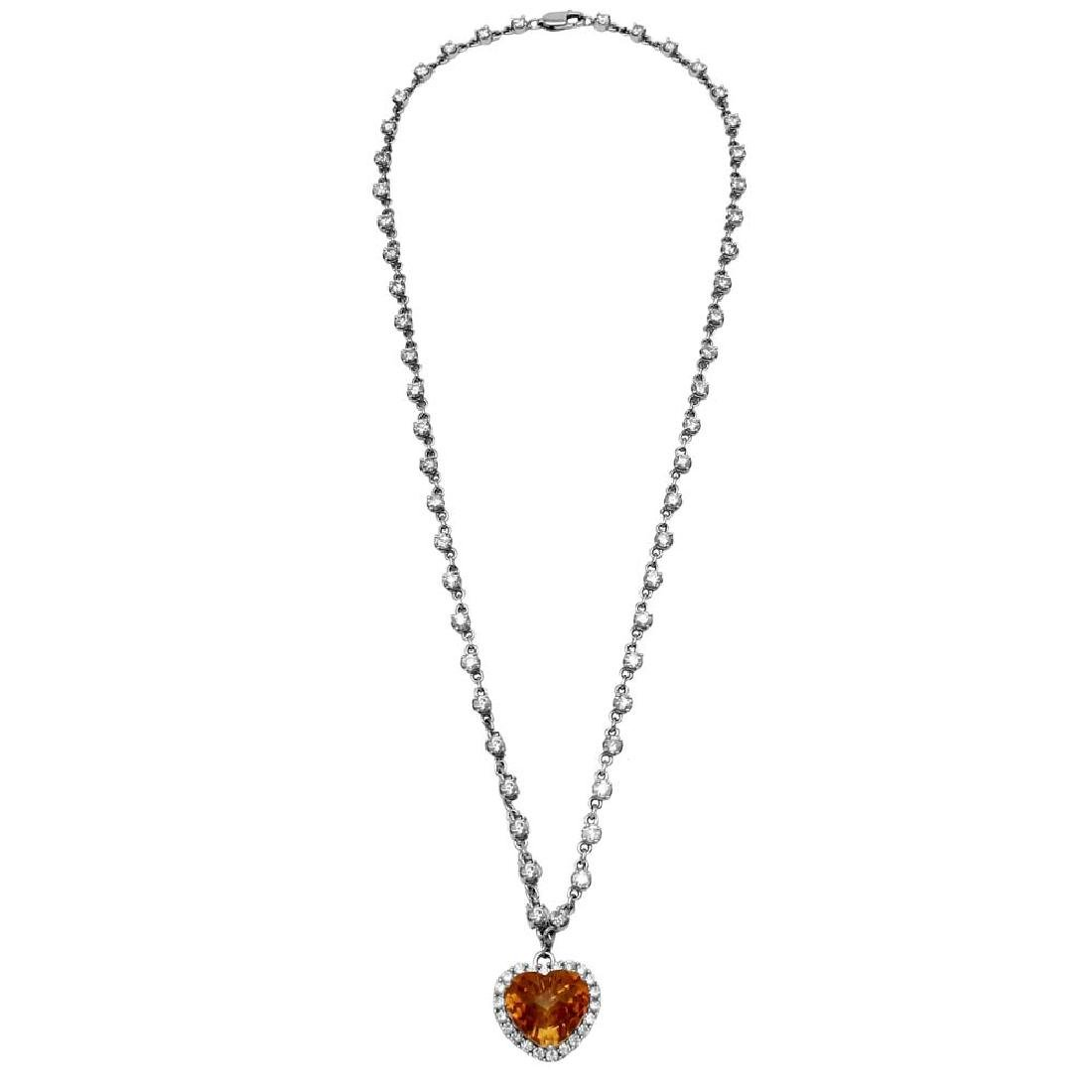 14KT White Gold 5.89ct Citrine and Diamond Necklace