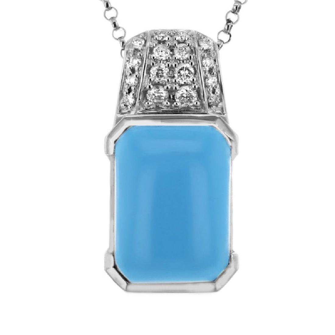 14KT White Gold 4.90ct Turquoise and Diamond Pendant