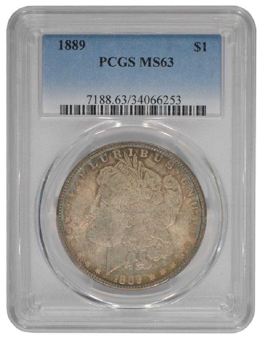 1889 $1 Morgan Silver Dollar Coin PCGS MS63