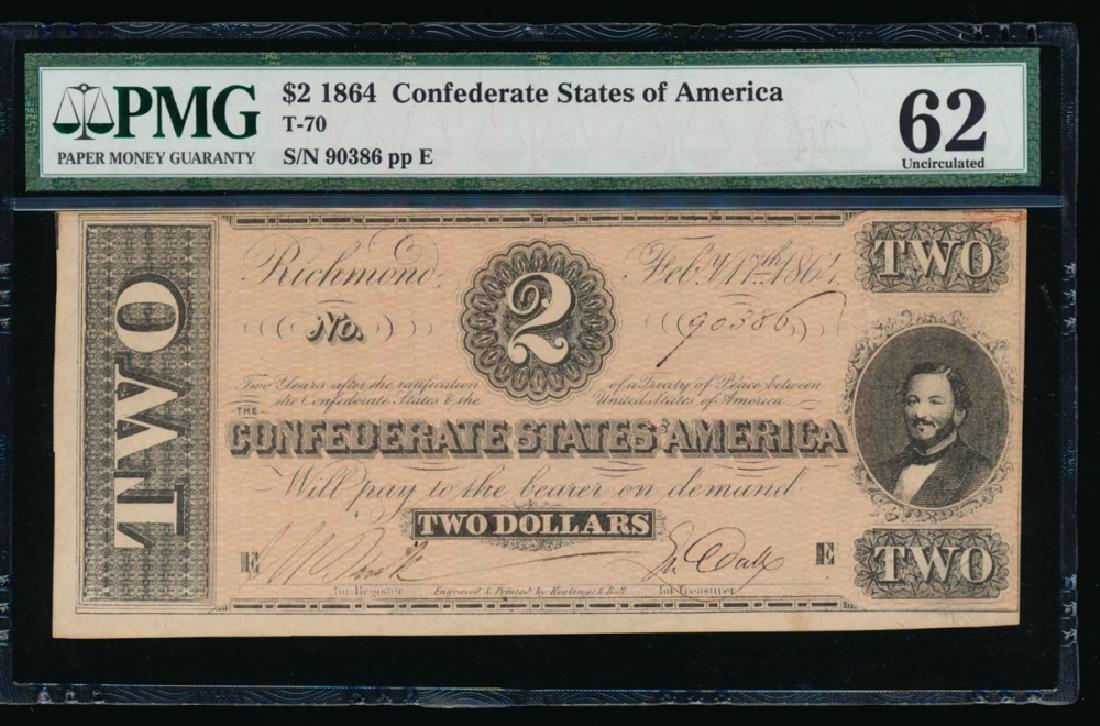 1864 $2 Confederate States of America Note PMG 62