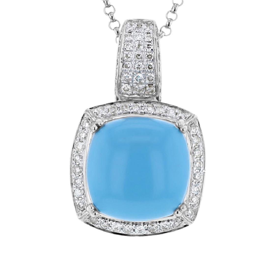 14KT White Gold 9.91ct Turquoise and Diamond Pendant