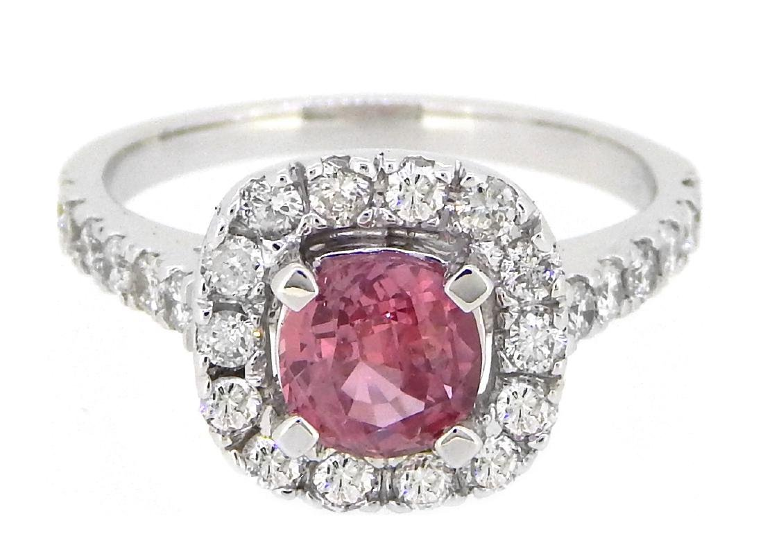 18K White Gold 1.14ct Padparadscha Sapphire and Diamond